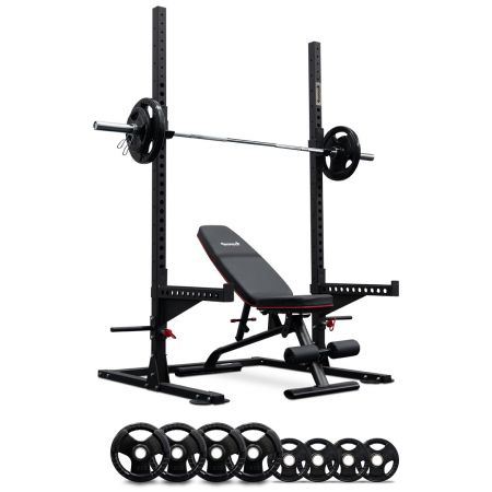 Squat Rack with Spotter Arms + Bench + 95kg Olympic Barbell Set