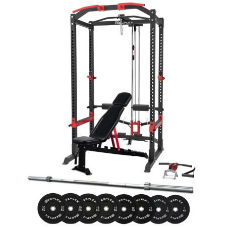 Reeplex Power Cage with Lat Pulldown + Cable Crossover + Bench + 120kg Olympic Weight Set