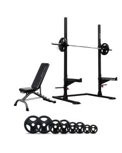 Squat Rack with Spotter Arms + Bench + 120kg Olympic Barbell Set