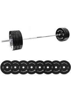120kg Pro Olympic Barbell & Bumper Set with Clips