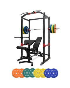 Heavy Duty Power Cage + Adjustable Bench + 120kg Coloured Bumper Package