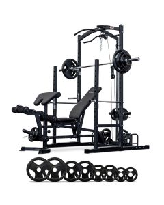 Squat Rack with Lat Pulldown + Bench + 100kg Olympic Barbell Set
