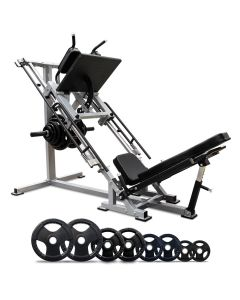 Leg Press & Hack Squat + 200kg Olympic Rubber Weight Plate Set