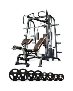 Massfit Smith Machine with Bench + Attachments + 100kg Olympic Weights