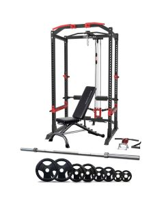 Reeplex Power Cage with Lat Pulldown + Bench + 120kg Olympic Weight Set
