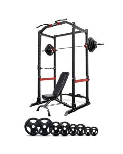Reeplex Heavy Duty Power Cage + Bench + 120kg Barbell Weight Plate Set