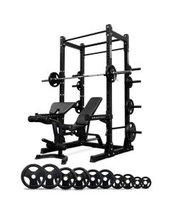 Reeplex Commercial Power Rack + Bench + 125kg Olympic Rubber Package