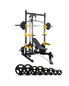Reeplex RM70 Multi Station Squat Rack + Bench + 120kg Olympic Barbell Weight Set