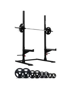 Squat Rack with Spotter Arms + 120kg Olympic barbell weight set