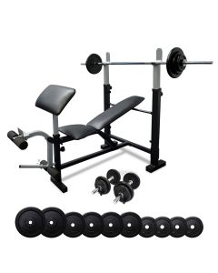 Impact BP5 Bench Press with Leg Extension + 55kg Standard Barbell Weight Set + Dumbbells