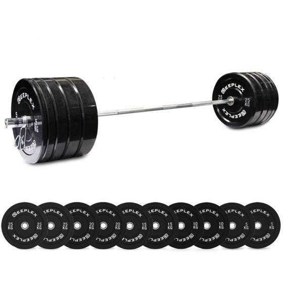 170kg Pro Olympic Barbell & Bumper Set with Clips