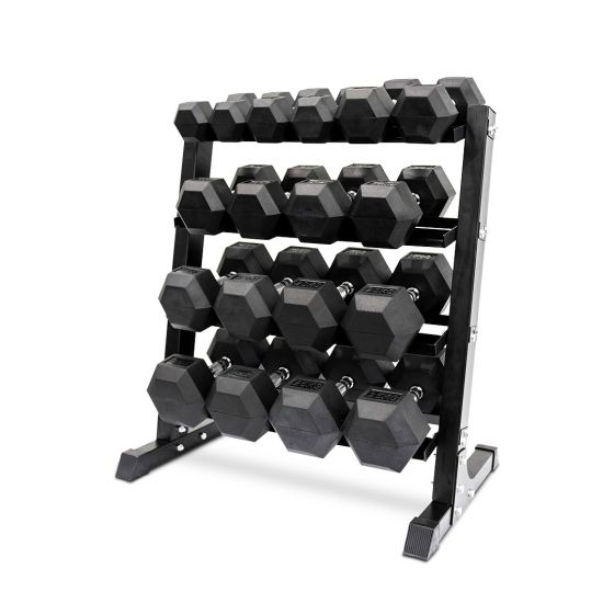 6kg to 25kg rubber hex dumbbell sets with Rack
