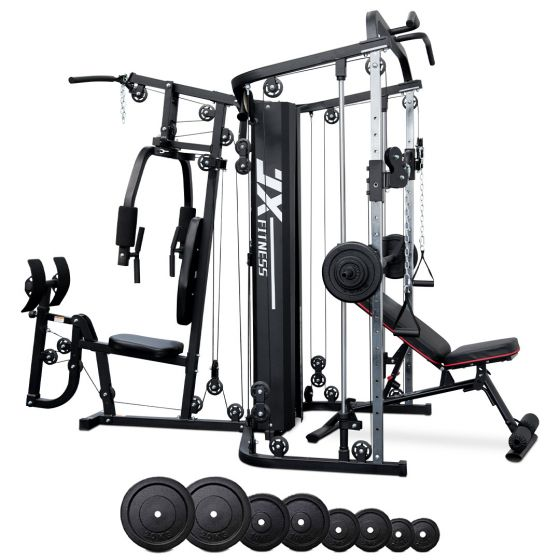 JX Multi Station Home Gym + Adjustable Bench + 100kg Cast Iron Weight Plates